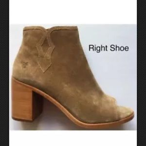 Frye Danica Peep Bootie Boot Sand Soft Oiled Suede